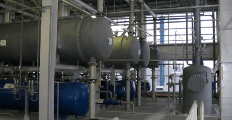 Boiler room inside a commercial building